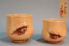Modern Niroku Yaki Yunomi Pottery Cup Set, Crabs
