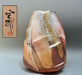 Huge Contemporary Shino Vase by Hayashi Shotaro