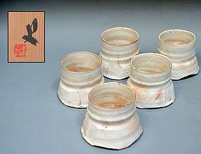 Set five Contemporary Ceramic Cups, Banura Shiro