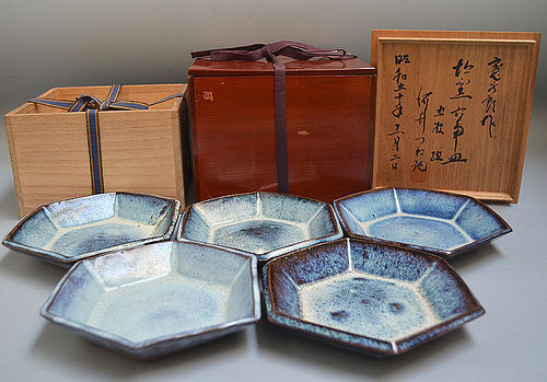 Set five Japanese Gosu Pottery plates by Kawai Kanjiro