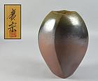 Okayasu Koshu Tall Faceted Bizen Vase