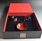 Lacquer, glass & Pottery Guinomi by Koie Ryoji & friends