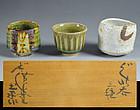 Tsuboshima Dohei Shino & Oribe Guinomi Sake Cup Set