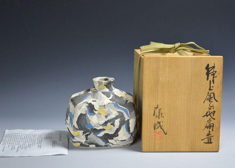 Living National Treasure Matsui Kosei Neriage Tsubo Vase