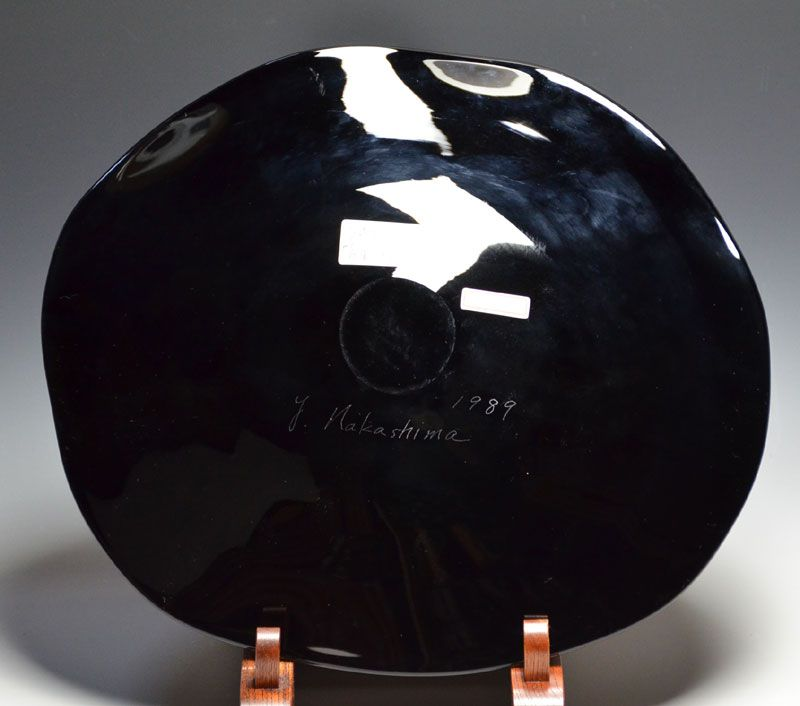 Exhibited Hand-blown Art-Glass Plate, Nakashima Yasushi