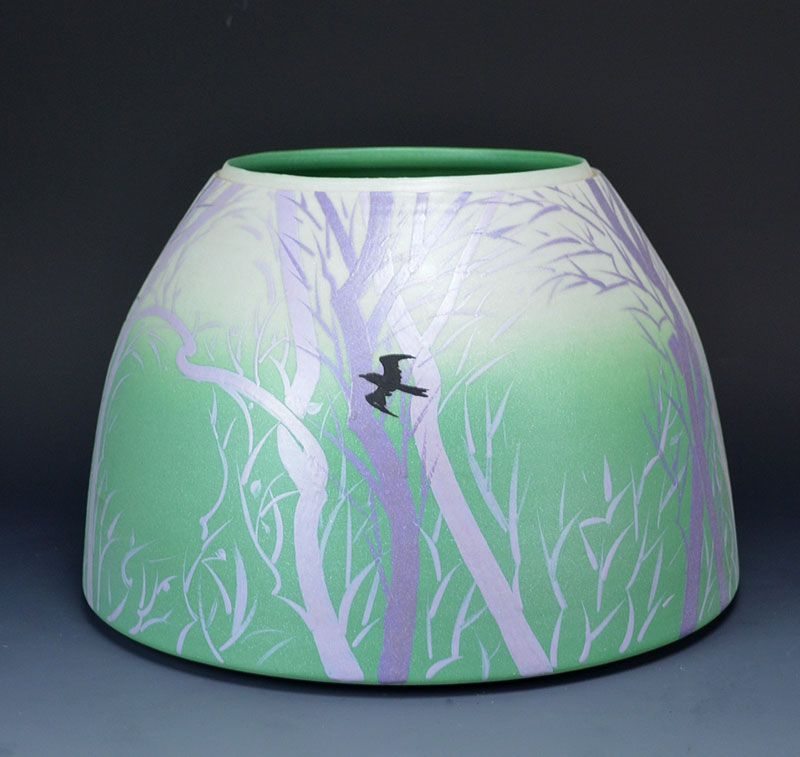 Unusual Kutani Porcelain Vase by Yamaguchi Yoshihiro