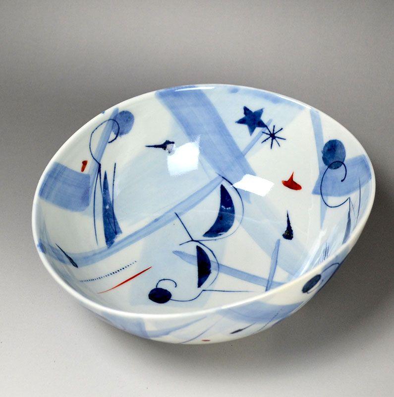 Shibata Ryuzo Abstract Sometsuke Porcelain Bowl