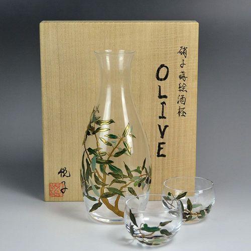 Contemporary Lacquered Glass Sake Set by Arai Etsuko