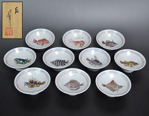 10 Contemporary Japanese Porcelain Sake Cups Takegoshi Jun