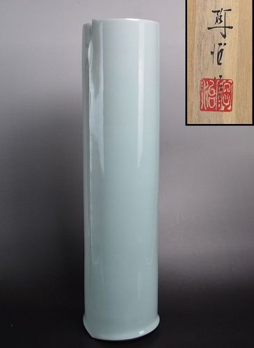 Large Celadon Winged-Vase by Fukami Sueharu
