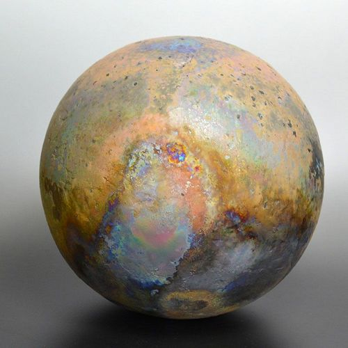 Contemporary Raku Sculpted Sphere by Hashimoto Tomonari