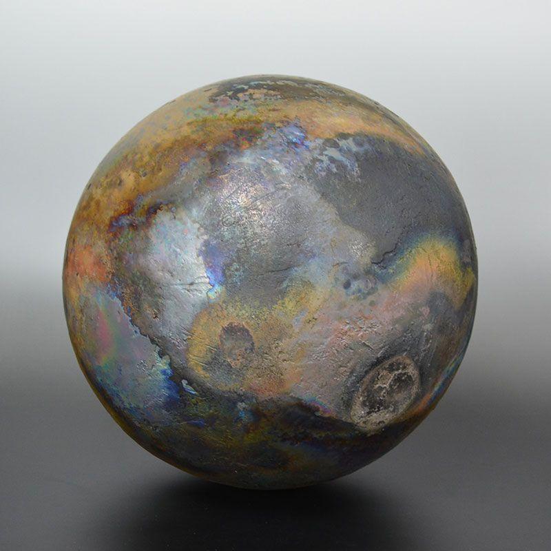 Contemporary Raku Sculpted Sphere by Hashimoto Tomonari