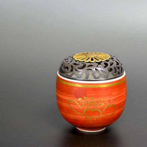 Tomimoto Kenkichi Aka-e Yunomi Koro w/ Silver & Gold lid