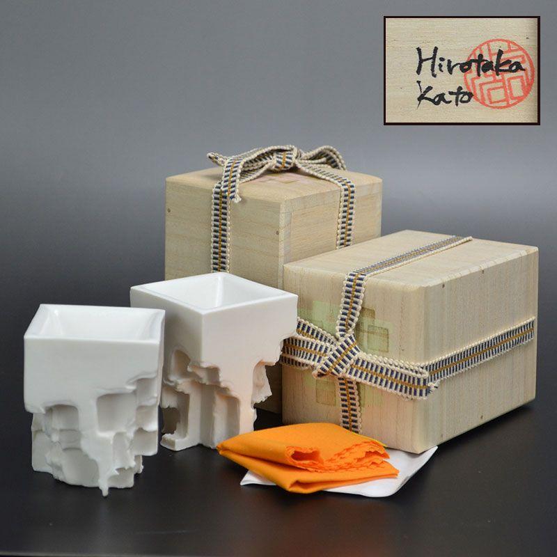2 Contemporary Kato Hirotaka Architectural Sake Cups