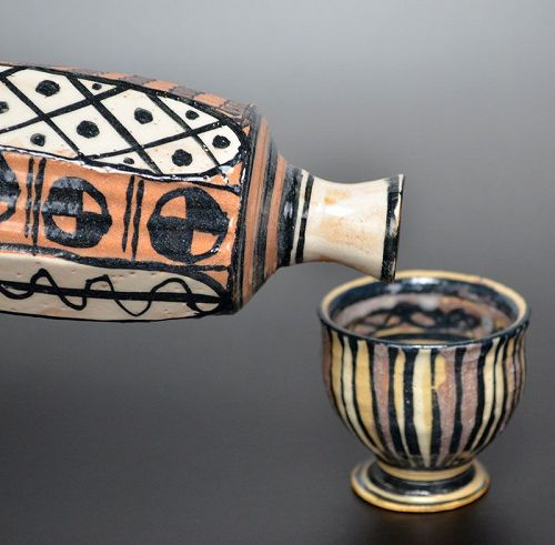Playful Aka-Oribe Sake Set by Richard Milgrim