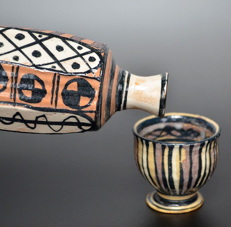 Playful Aka-Oribe Sake Set by Richard Milgrim
