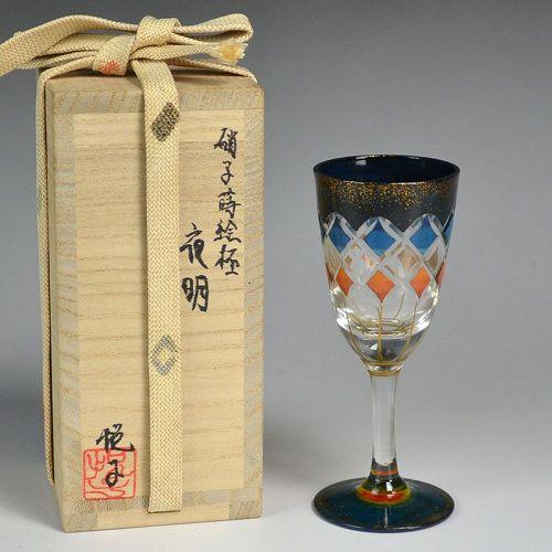 Exquisite Lacquered Cut Glass Liquor Cup by Arai Etsuko