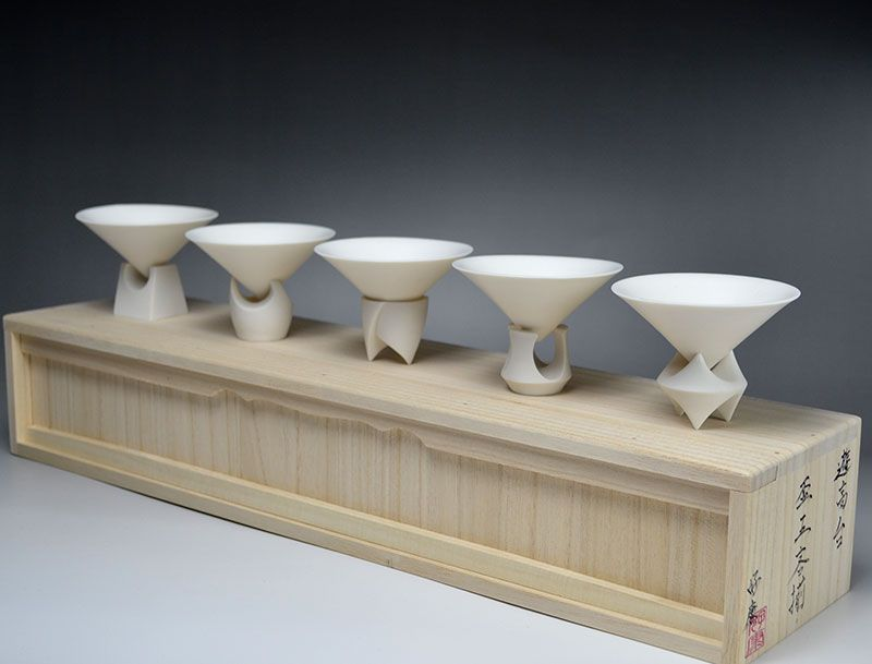 Kato Yoshiyasu 5 pc. Sake Cup Set, One of a Kind