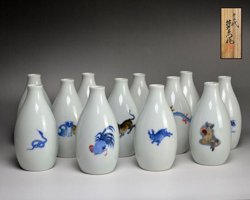 Imaizumi Imaemon XII 12 pc. Porcelain Tokkuri Set