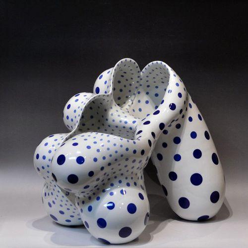Nakashima Harumi Blue Dot Porcelain Sculpture