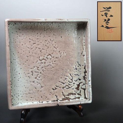 Hagi Ash Glazed Pottery Plate by Miwa Eizo