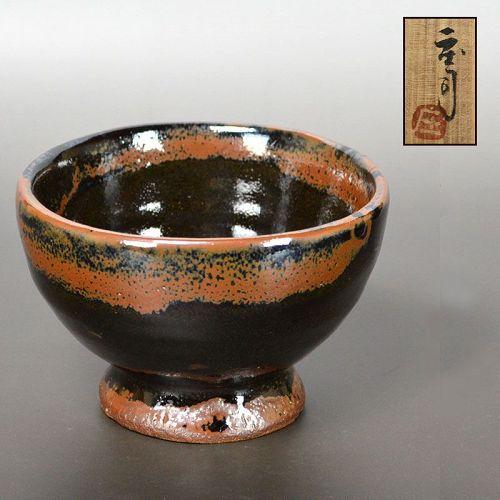 Brilliant Rust Colored Chawan Tea Bowl by Hamada Shoji