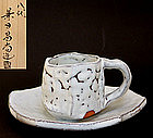 Shiro-Hagi Coffee Cup and Saucer by Kaneta Masanao