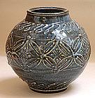 Doro-e Gosu Pottery Vase by Kawai Toru