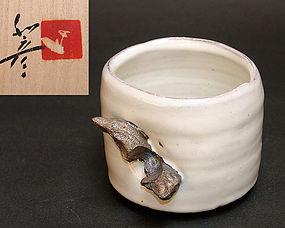 Unusual Hagi Chawan Tea Bowl by Miwa Kazuhiko