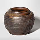 A rare and antique Bizen Stoneware Tsubo Edo Era