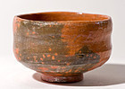 Antique red Raku chawan with Kichizaemon Keinyû Seal