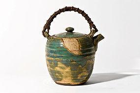 Antique Japanese Oribe-Yaki Teapot from Edo Period