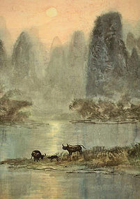 Antique Chinese Hanging Scroll - Dusk Scenery