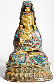 Bronze Kwan Yin with firstclass Cloisonne and 24k gold