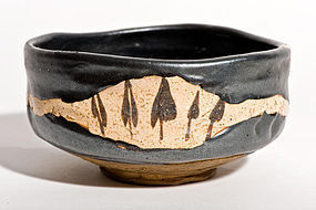 Rare Meiji period black Oribe kutsu gata tea bowl