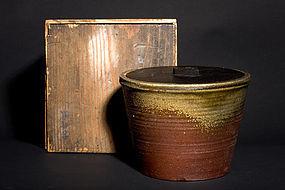 Antique Edo Period Shigaraki yaki mizusashi for chado