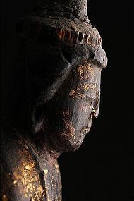 Antique Japanese buddhist folk image wood carved