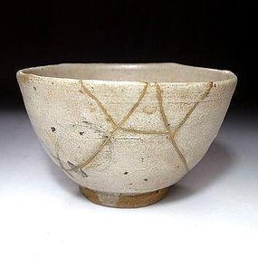 Edo Period E-Karatsu Chawan with Gold repair