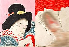 Shunga Woodblock Print Meiji Period