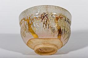 Gold Meiji Period Kasama Yaki Tea Bowl