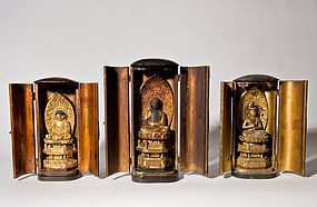 Three Edo Period Buddha Statues ( travel shrines )