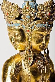 A large 4-headed gilt bronze Qing Amitayus Buddha