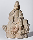 Mid Edo Period Pottery Kannon - unusual and rare
