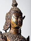 Antique lacquered gilt bronze Ayutthaya Buddha Statue