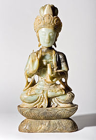 Large Chinese Jade Guanyin Statue from Qing Dynasty