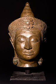 Large Siam bronze Ayutthaya head 19th. century