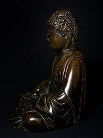 Rare Edo Era Amida Nyorai Bronze Buddha