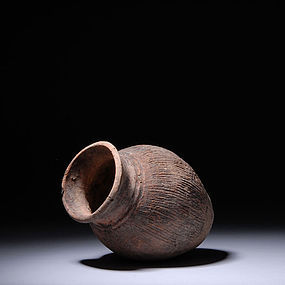 Chinese Neolithic Qijia Combed Pottery Vessel 2400 B.C.