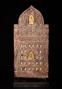 Buddha solid wood templerelief Siam 19th. century