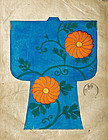 Four big sheets of hand painted Kimono designs - signed
